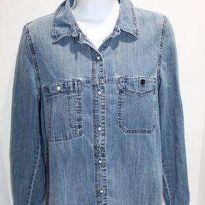 MADEWELL Denim Shirt chambray chin strap Western S